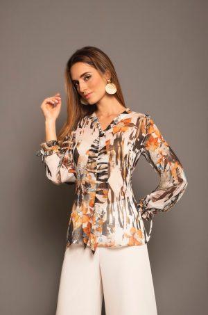 Blusa manga larga con corbatín en escote Chazari 4841-9