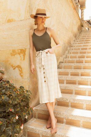 REF 3304-9 Falda de lino cuadros con fuelle