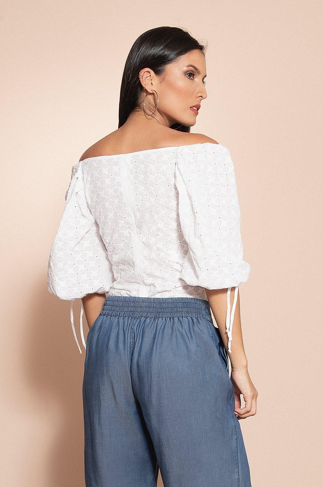 Blusa manga ancha en hoja rota - Chazari 4995-20