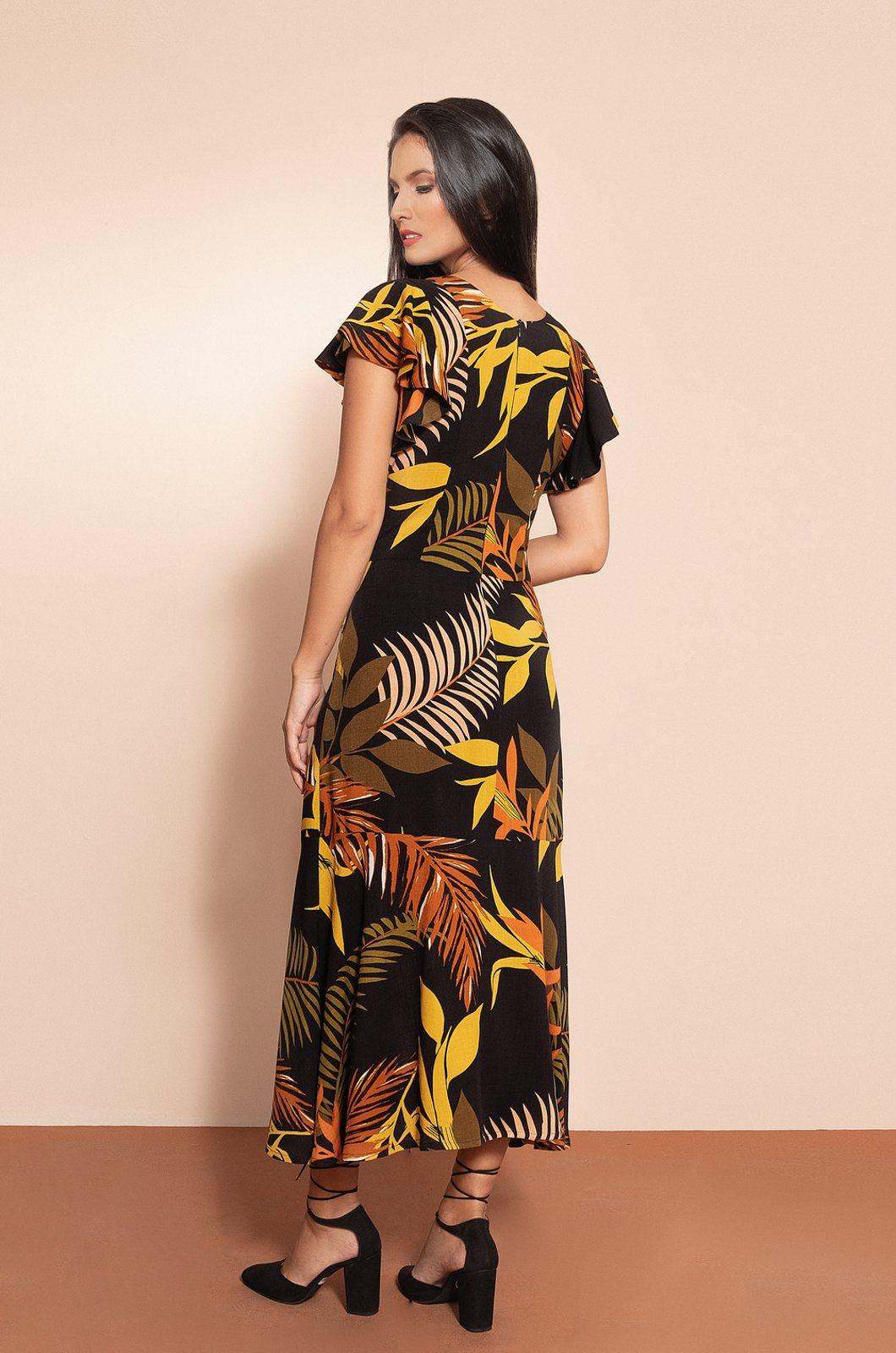 Vestido largo estampado - Chazari 6939-20