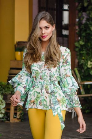 Blusa estampada tropical - Chazari 4993-20