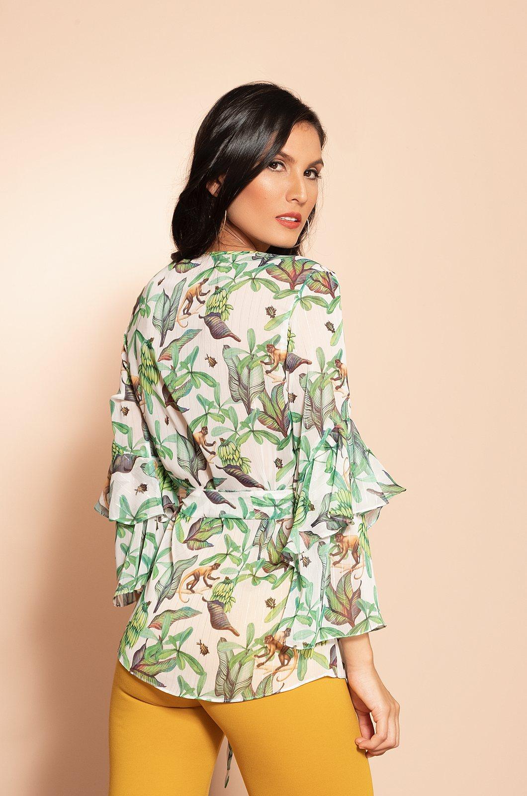 Blusa estampada tropical - Chazari 4993-20