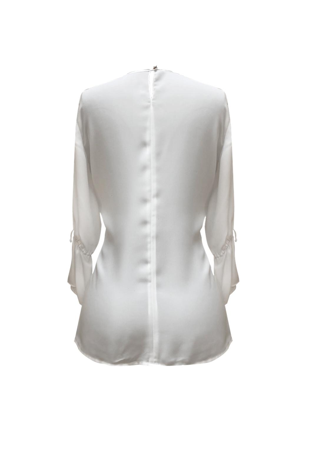 Blusa cuello redondo con tira de amarrar en puño