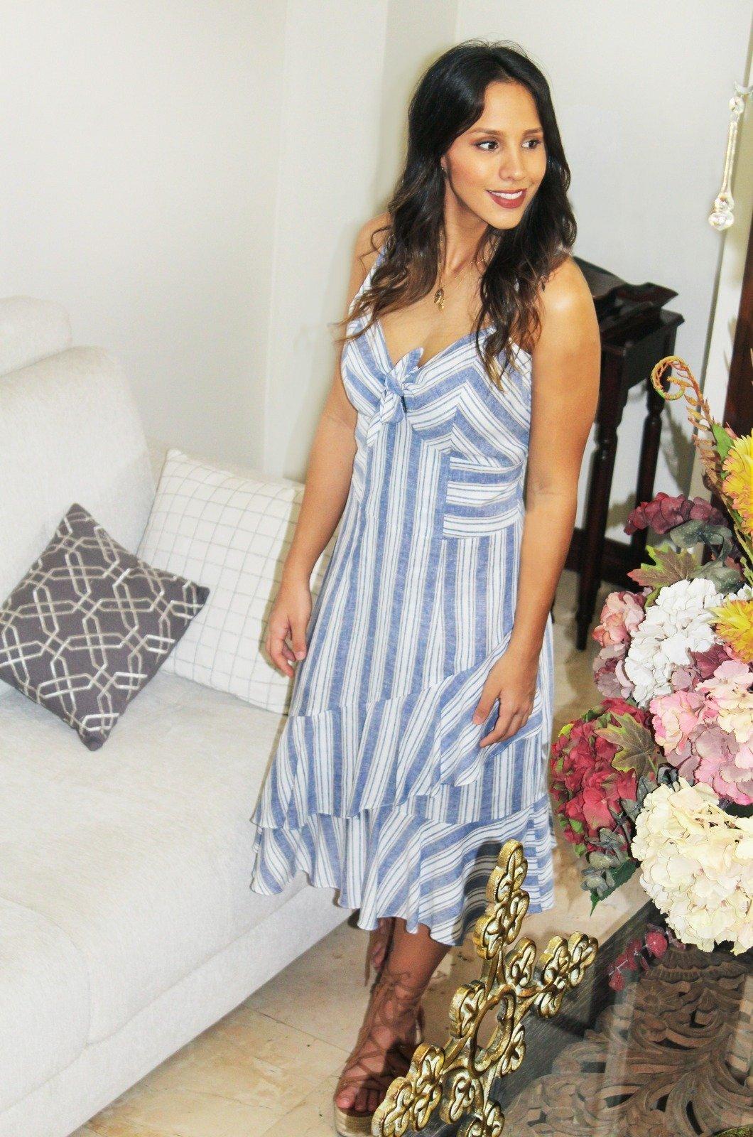 Vestido de rayas en lino Chazari 6917