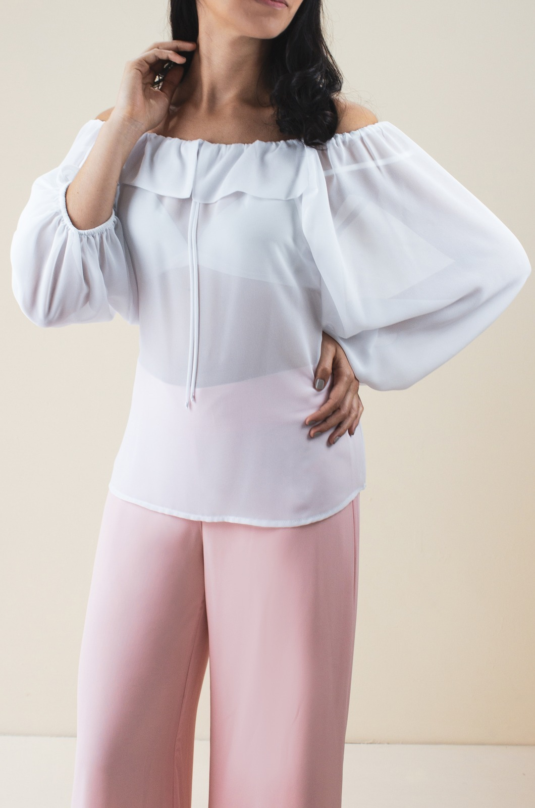Blusa campesina con boleros y manga bombacha - Chazari 4017-20 Blanco