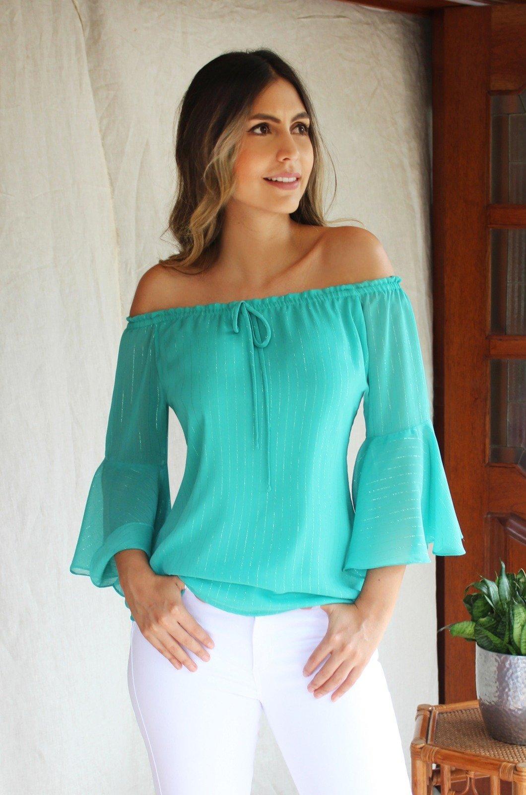 Blusa campesina con bolero en manga verde - Chazari 4025-20 verde