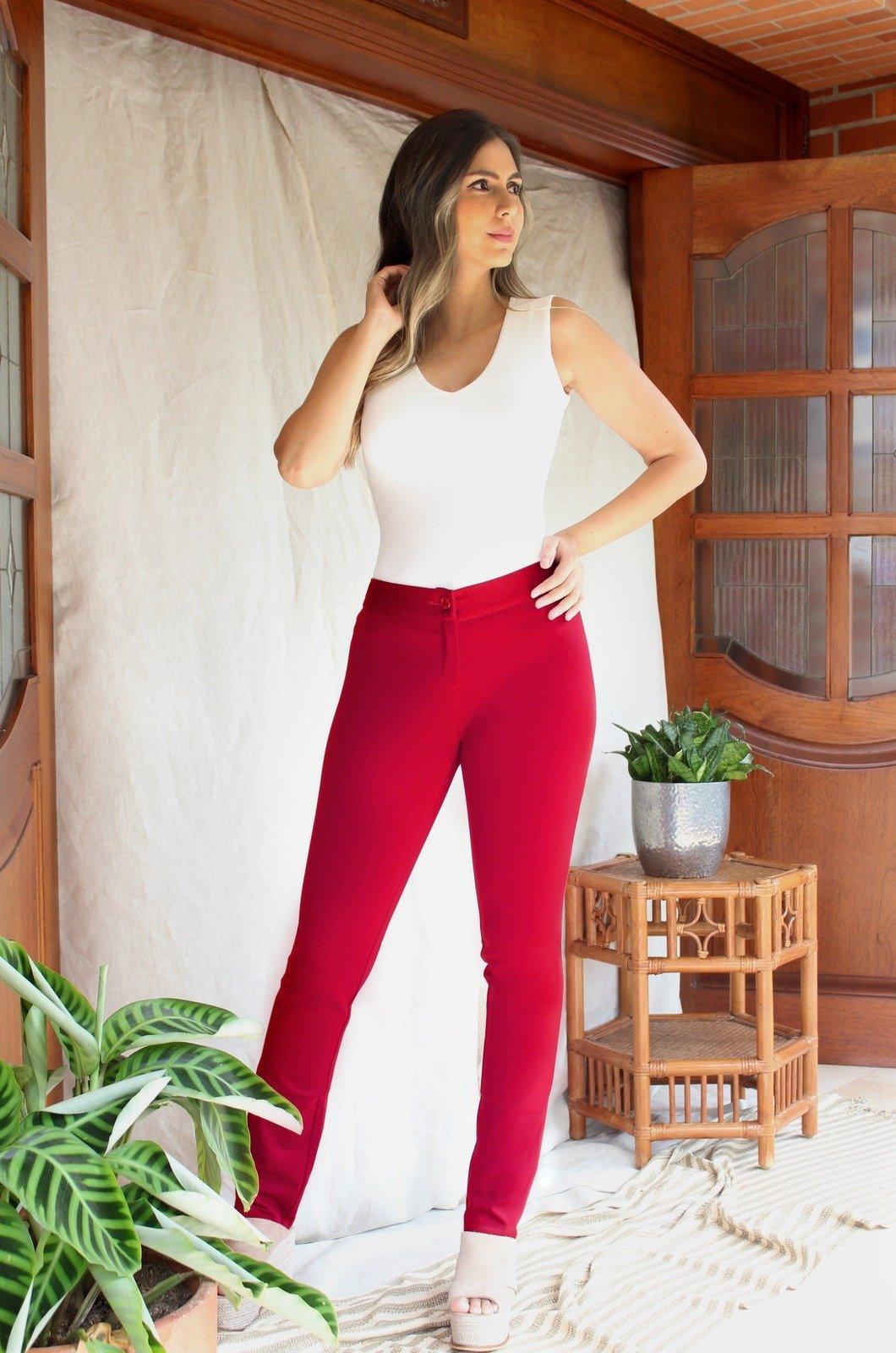 Legging-básico-sin-costuras-Chazari-1238-rojo