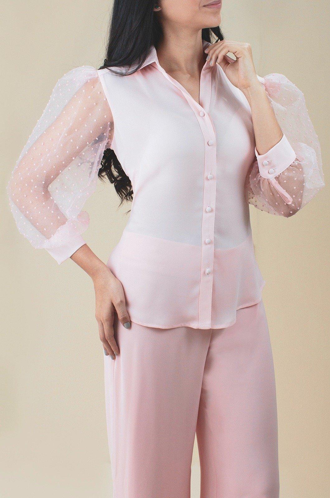 Blusa camisera con mangas bombachas - Chazari 4030-20 ROSA