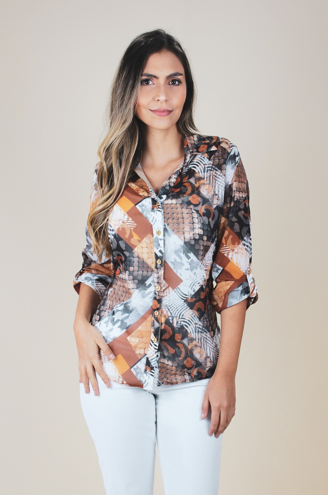 Blusa camisera manga larga - Chazari 4987-9