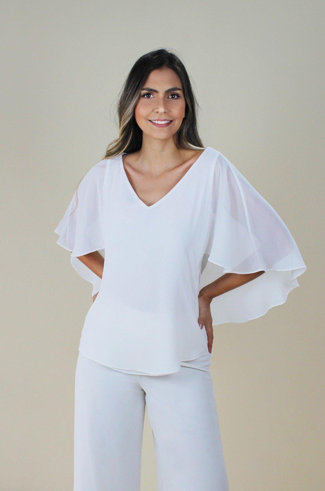 Blusa chiffon capa en espalda - Chazari 4982-20