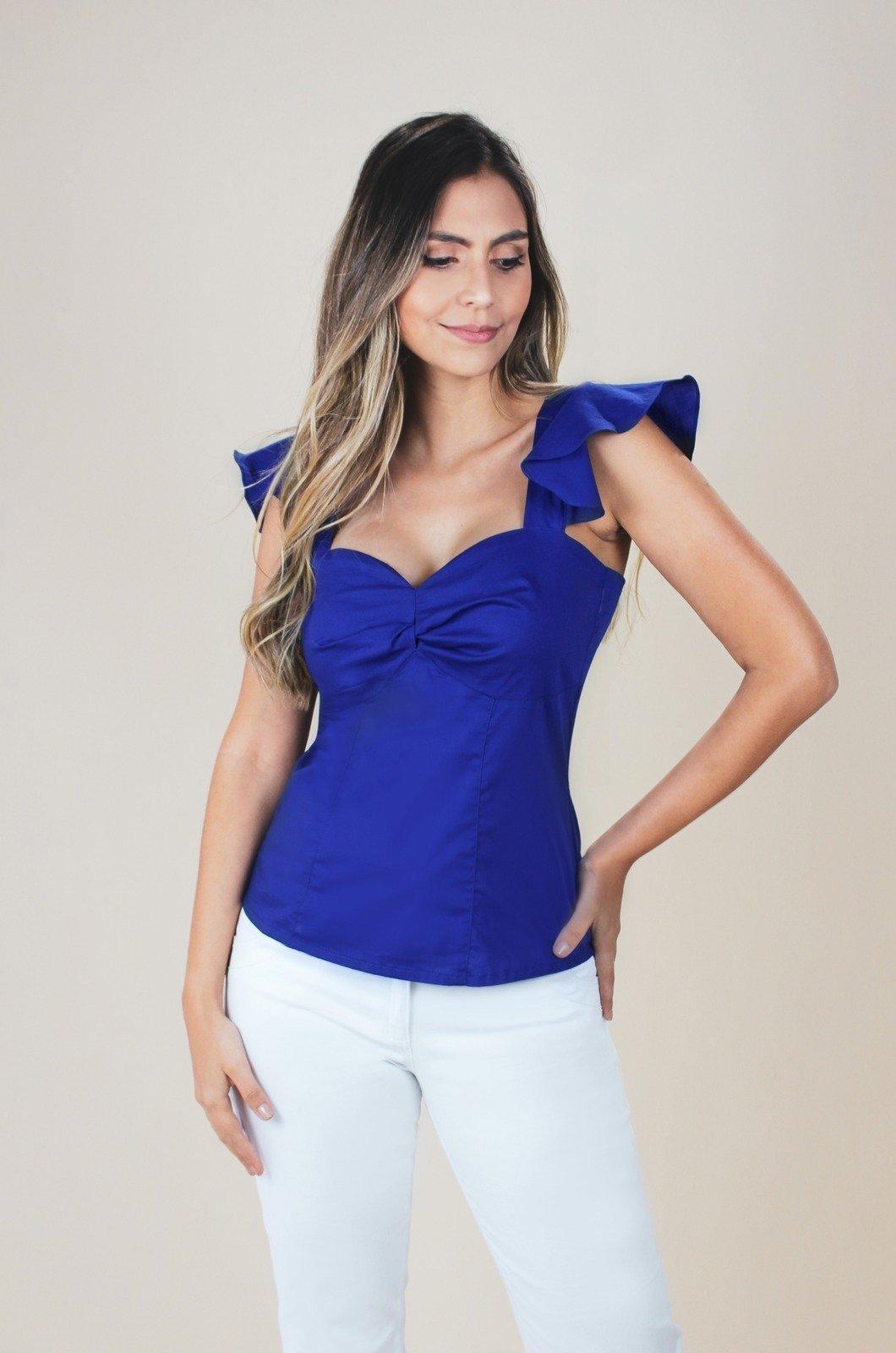 Blusa con nudo en busto y bolero en hombro - Chazari 4940-9 Azul