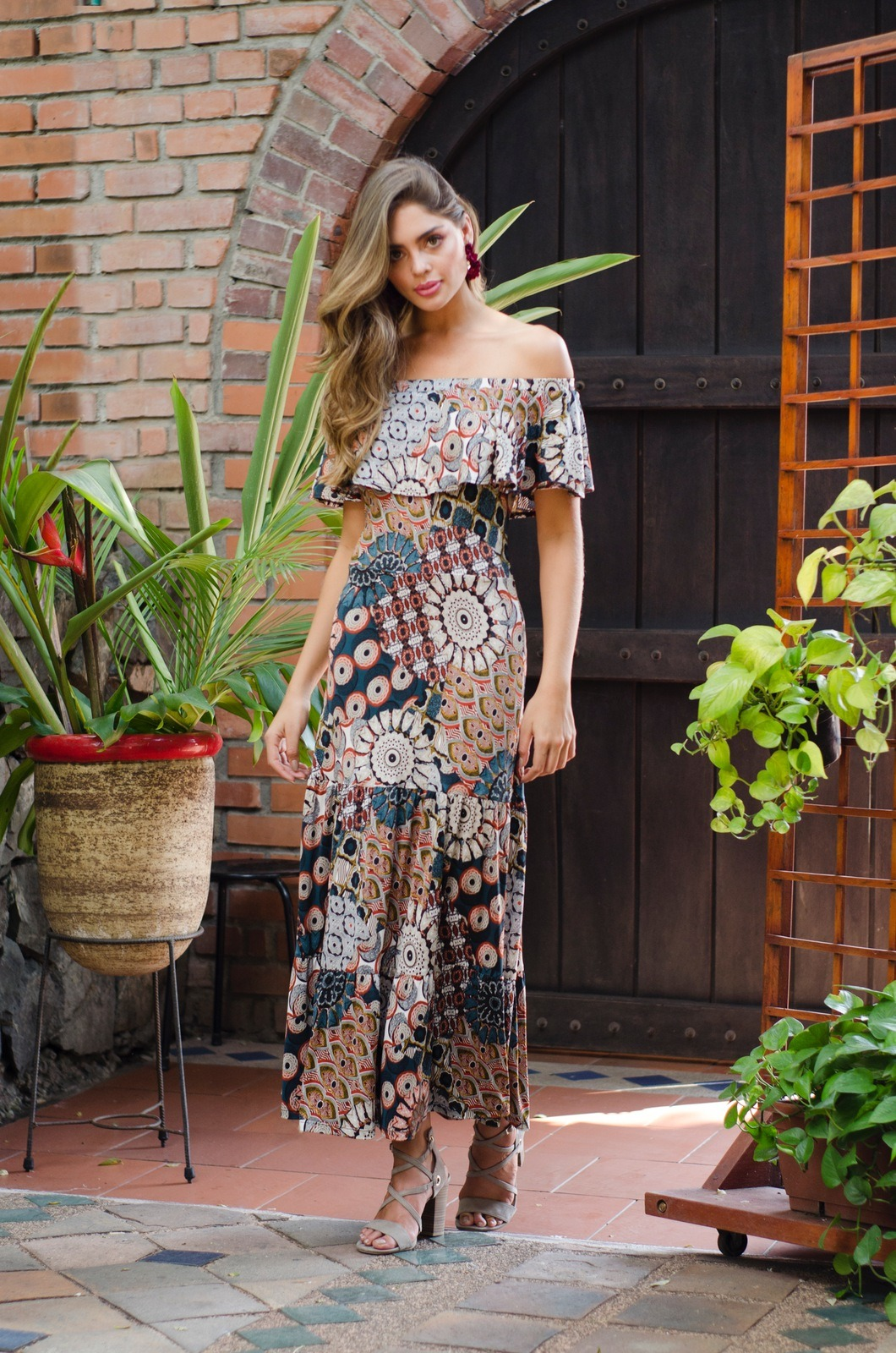 Vestido campesino largo - Chazari 6940-20 01