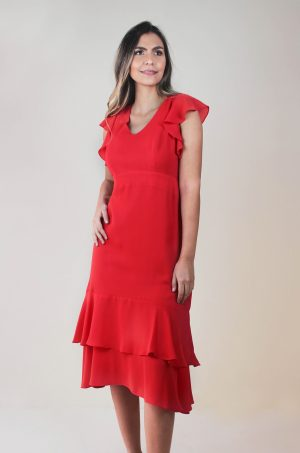 Vestido talego - Chazari 6925-9 Rojo