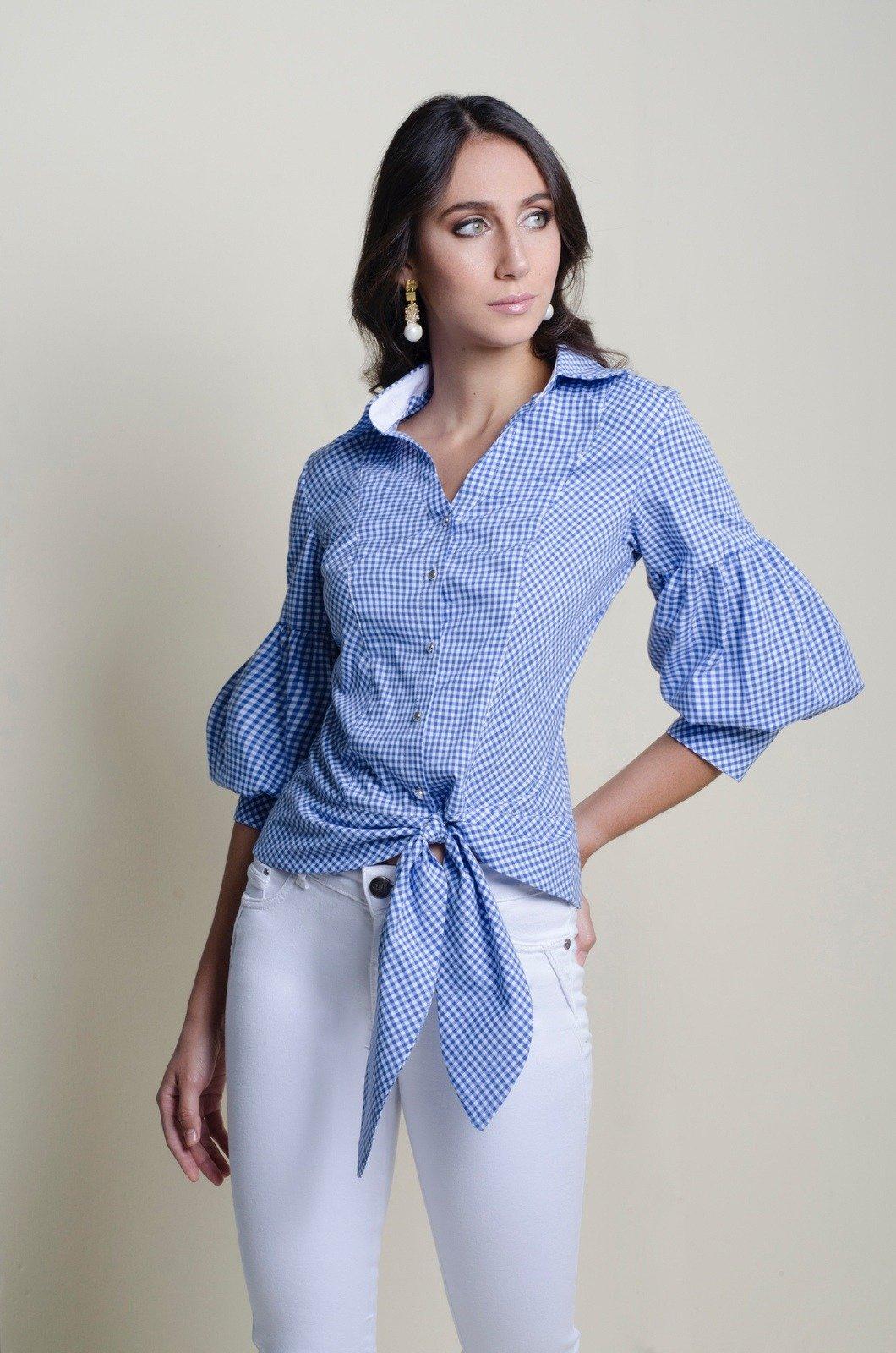 Blusa camisera con nudo de amarrar - Chazari 4058-20 C