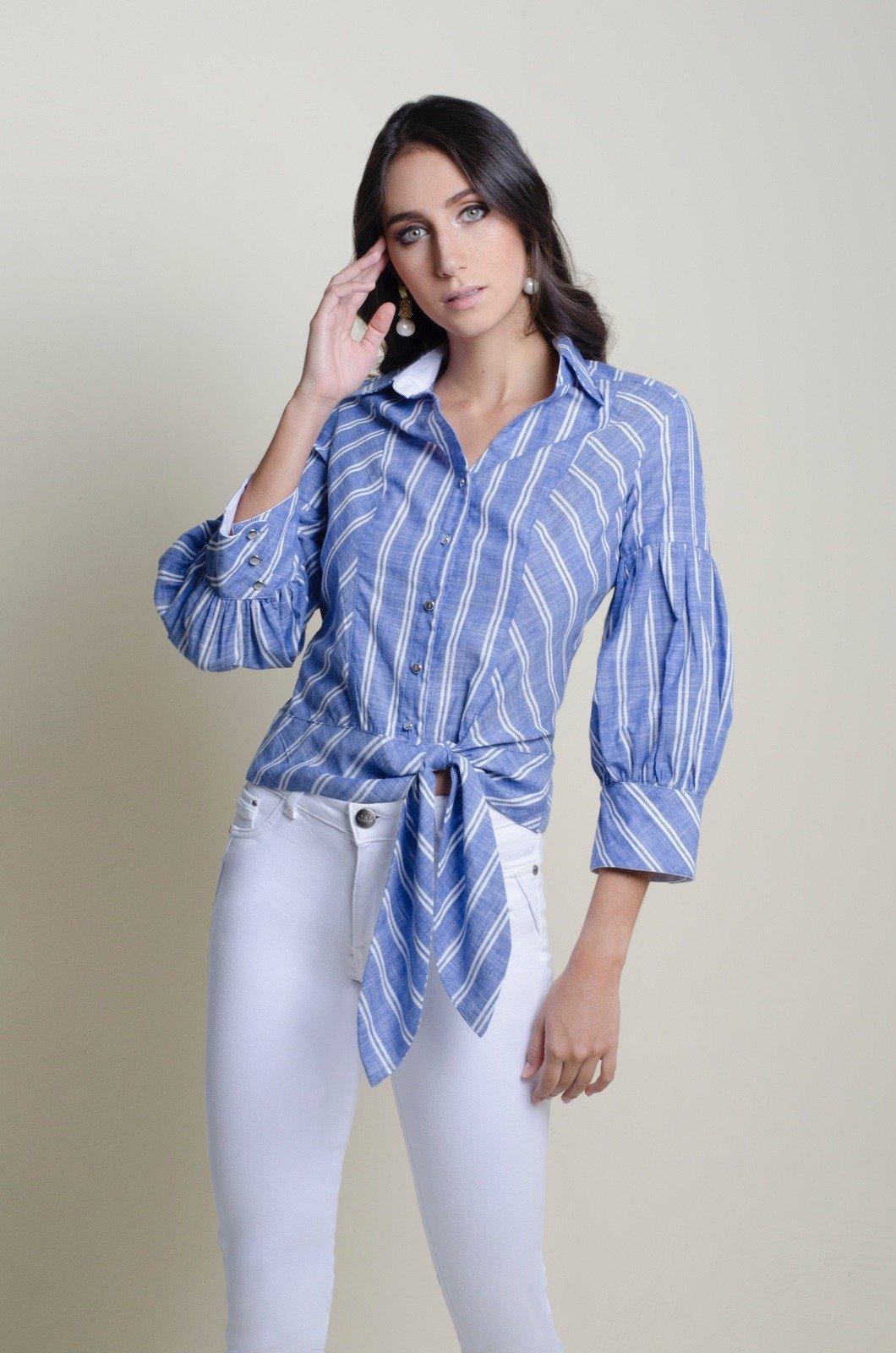 Blusa camisera con nudo de amarrar - Chazari 4058-20 R