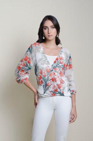 Blusa cruzada con puño - Chazari 4046-20