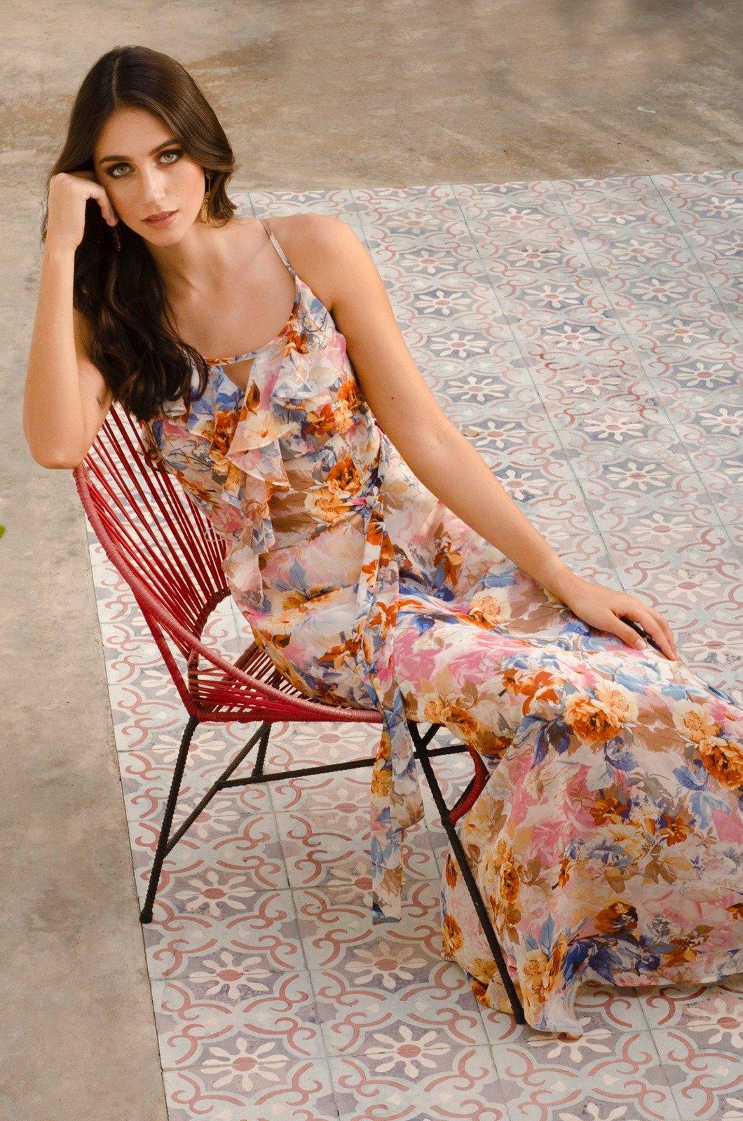 Vestido largo con bolero en escote - Chazari 6949-20