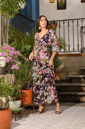 Vestido largo en tiempos - Chazari 6946-20