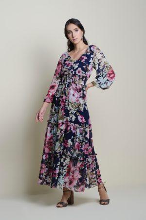 Vestido largo en tiempos - Chazari 6946-20 II