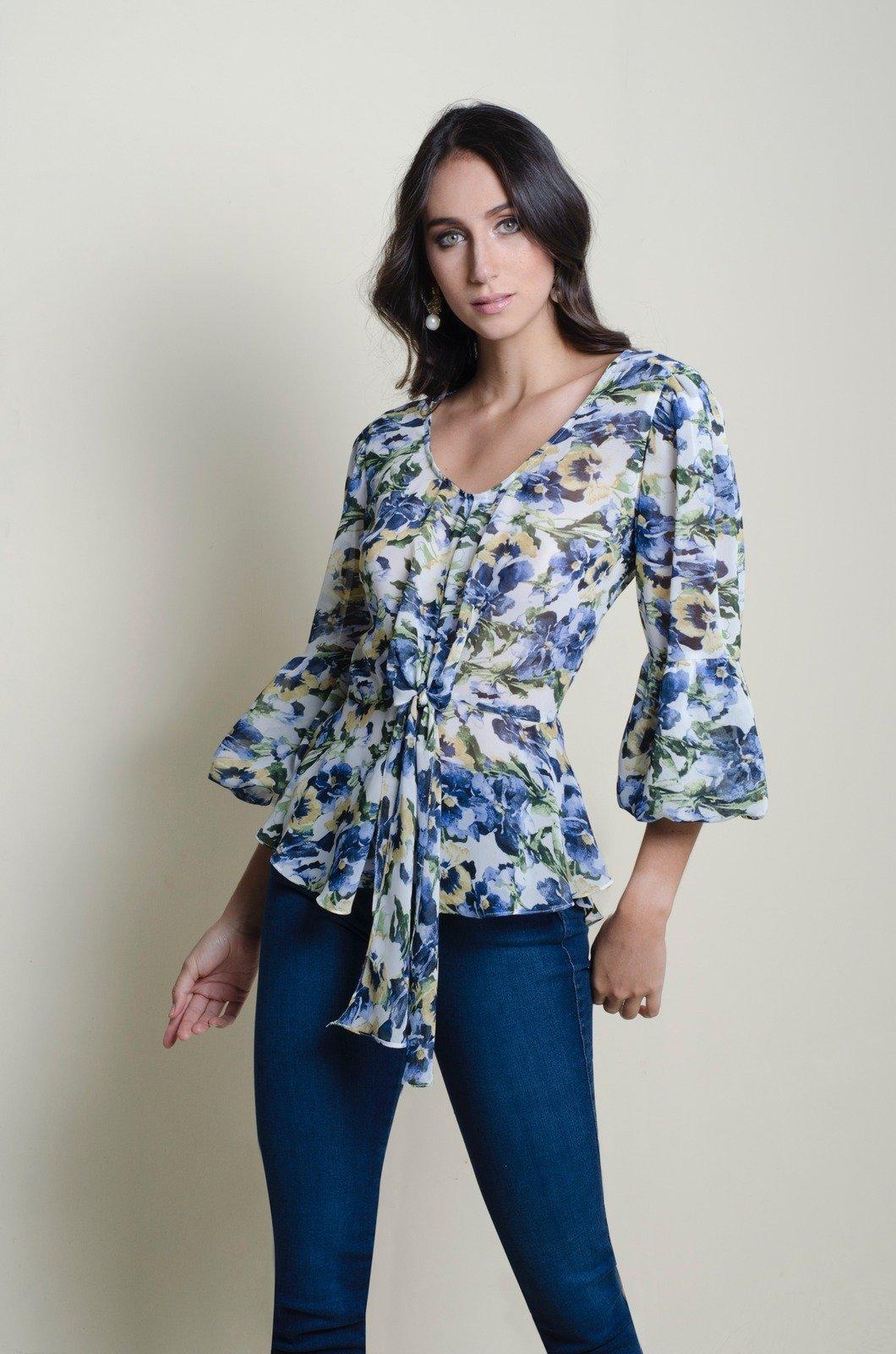 Blusa con tira de amarrar en la cintura y falda bolero - Chazari 4060-20 EST 36 AZUL