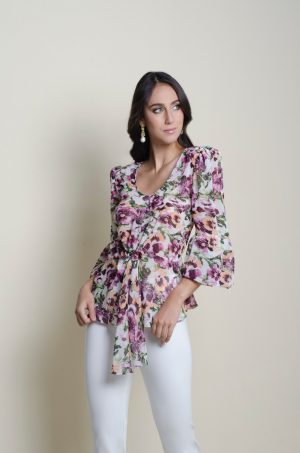 Blusa con tira de amarrar en la cintura y falda bolero - Chazari 4060-20 EST 68 MAG