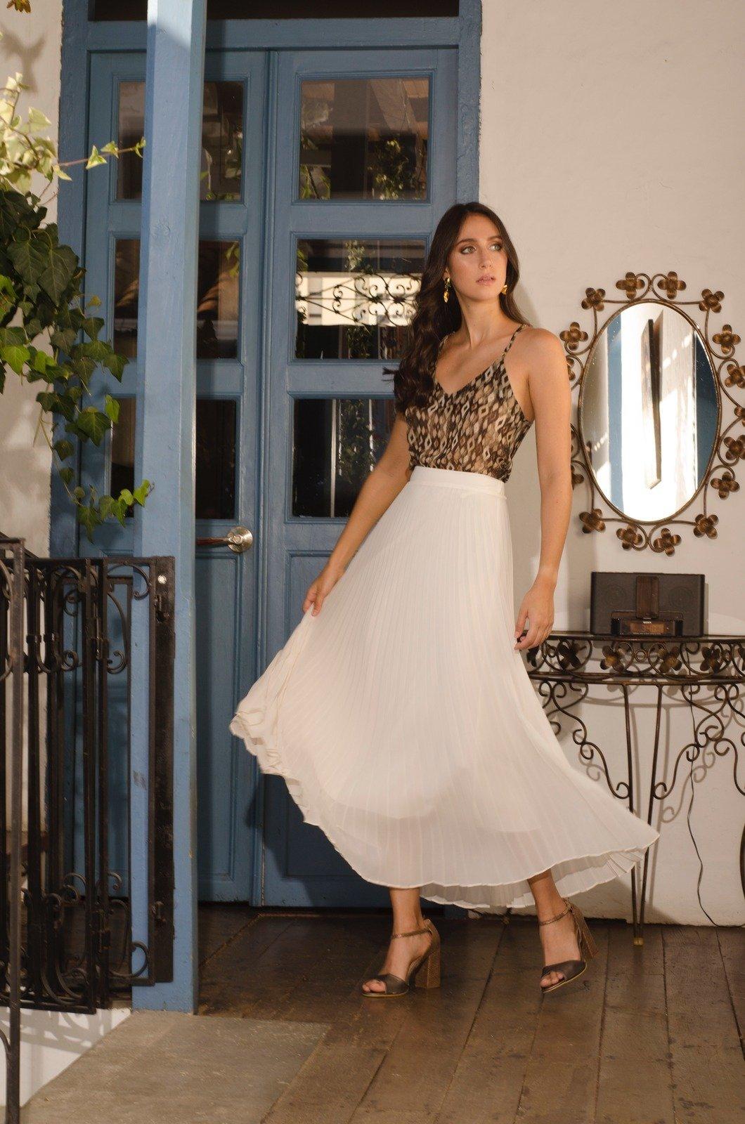 Falda larga plisada - Chazari 3323-20 01