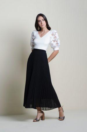 Falda larga plisada - Chazari 3323-20 08-2